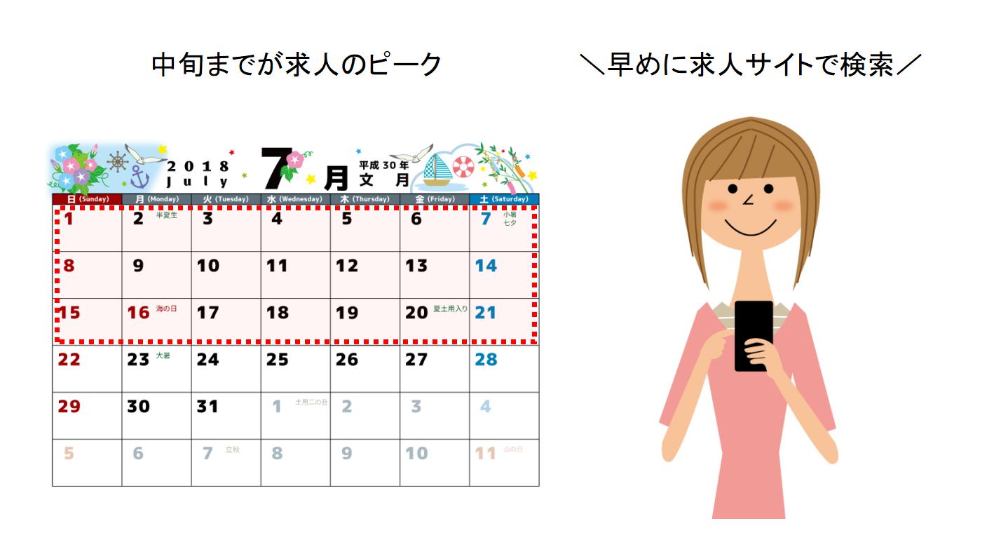カレンダーとバイトを探す女性