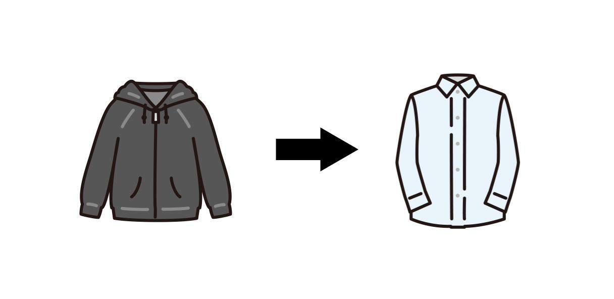 面接はパーカーよりシャツがおすすめ